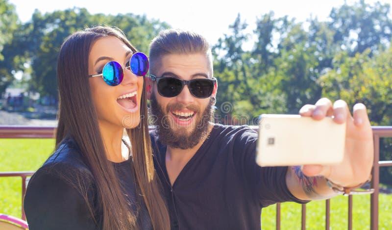 Selfies met significante andere royalty-vrije stock afbeeldingen