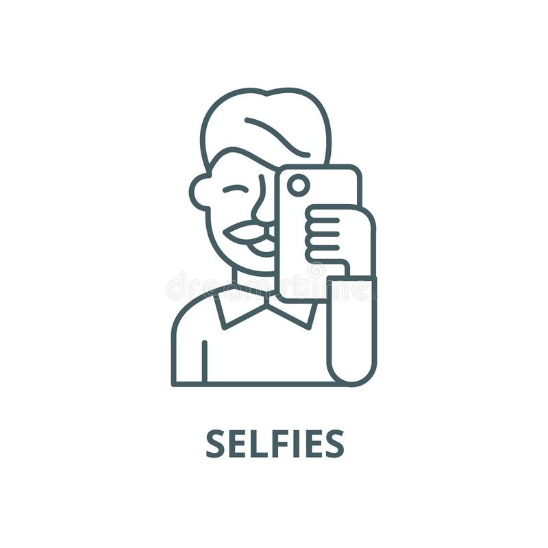 Selfies vector line icon, linear concept, outline sign, symbol stock illustration