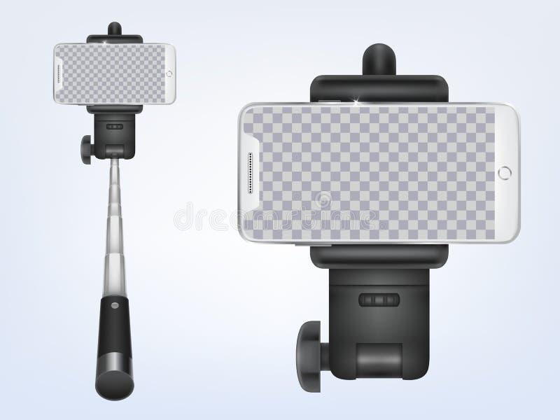 Selfiestick réaliste du vecteur 3d avec le smartphone illustration stock