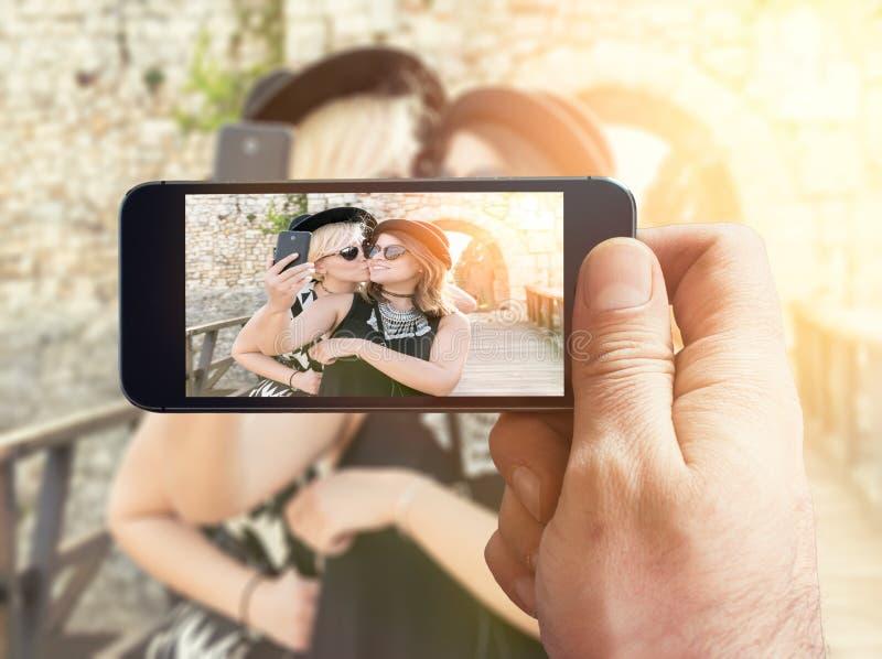 Selfietijd royalty-vrije stock afbeeldingen