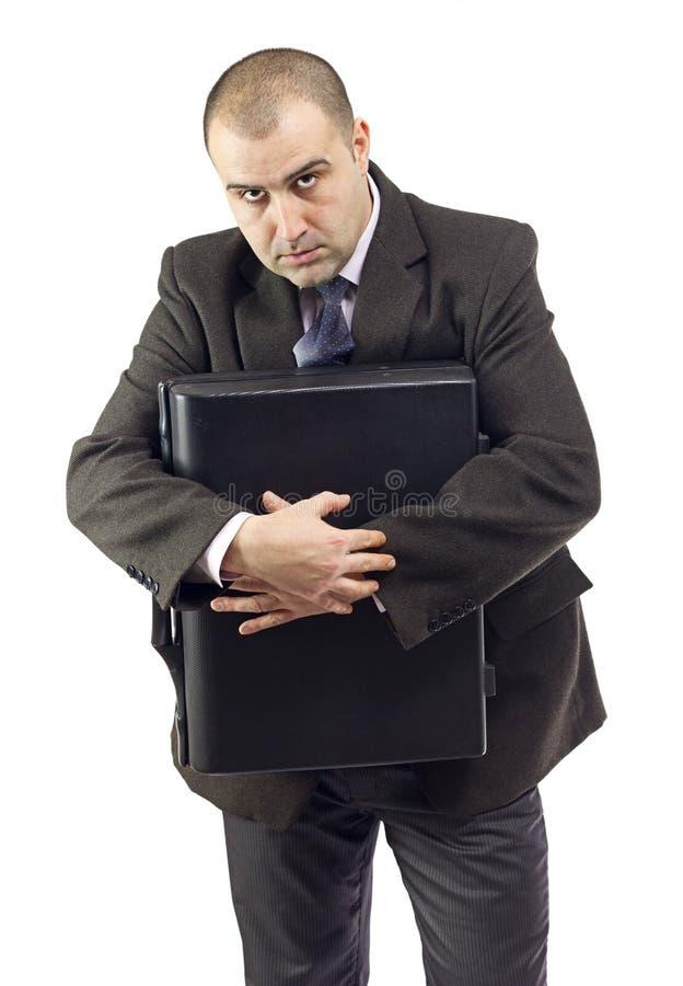 Download Selfish Business Man Holding Suitcase Stock Image - Image: 23522685