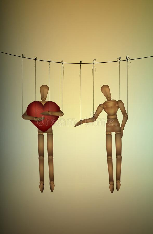 Selfish concept, marionette holds big heart and do not share with another, greedy lover, stock illustration