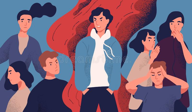 Selfish young man rejected by society because of his annoying behavior. Concept of psychological problem, communication. With unpleasant molesting person royalty free illustration