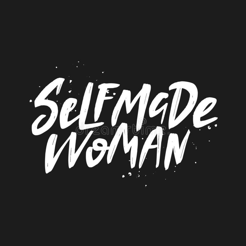 Selfmade woman vector brush lettering. Handwritten inscription. Isolated typography print stock illustration