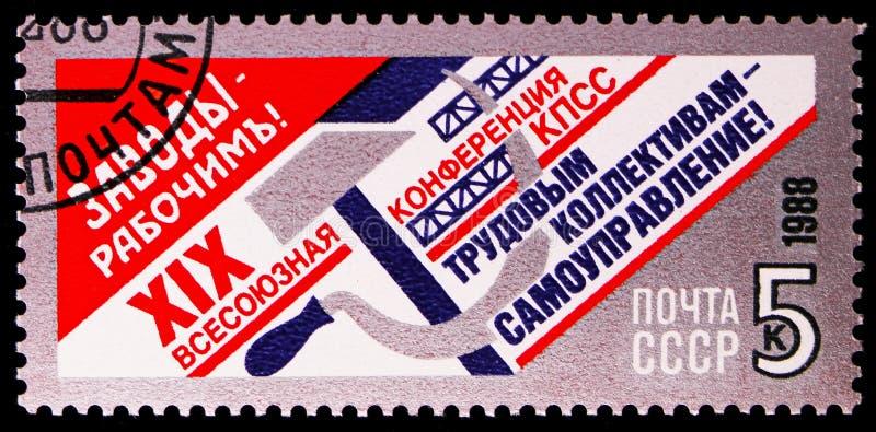 selfmanagement辛苦的集体-,XIX CPSU serie的全联合会议,大约1988年 免版税库存照片