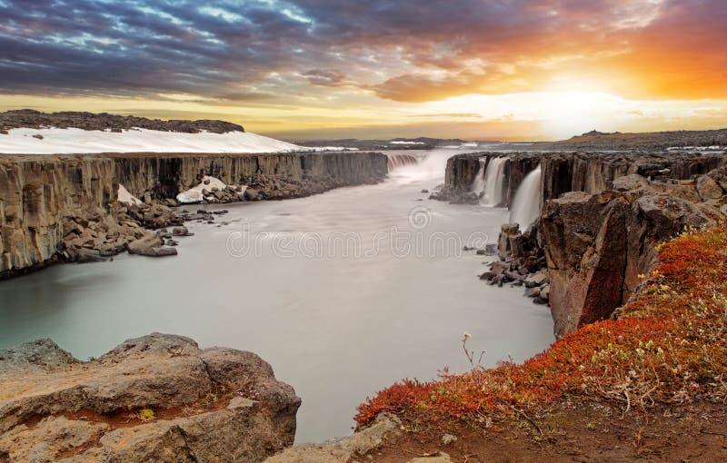 Selfoss-Wasserfall in Nationalpark Vatnajokull, Nordost-Icelan stockbild