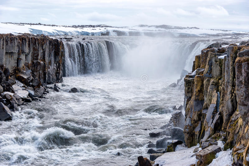 Selfoss waterfall in Vatnajokull National Park, North Iceland royalty free stock image