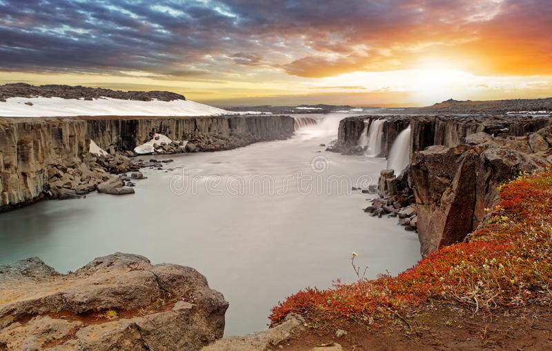 Selfoss waterfall in Vatnajokull National Park, Northeast Iceland stock image