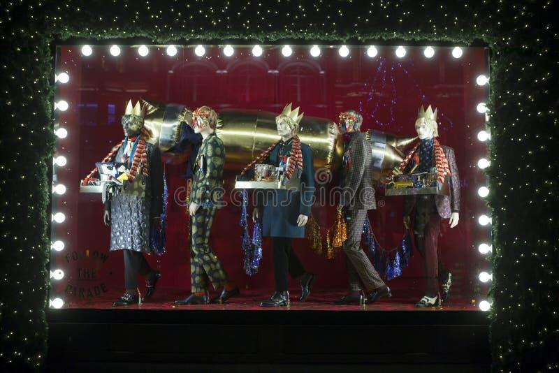 Selfridges, via di Oxford, Londra, decorata per il Natale ed i nuovo 2018 anni immagine stock