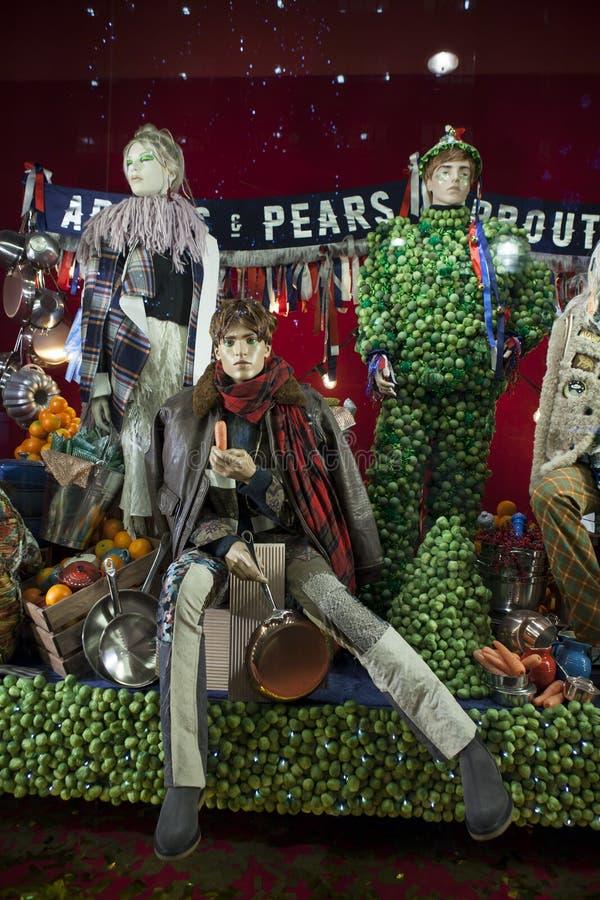 Selfridges, via di Oxford, Londra, decorata per il Natale ed i nuovo 2018 anni fotografie stock libere da diritti