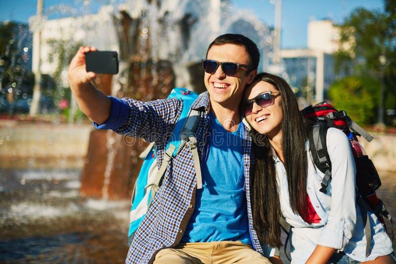 Selfy nemen stock foto's