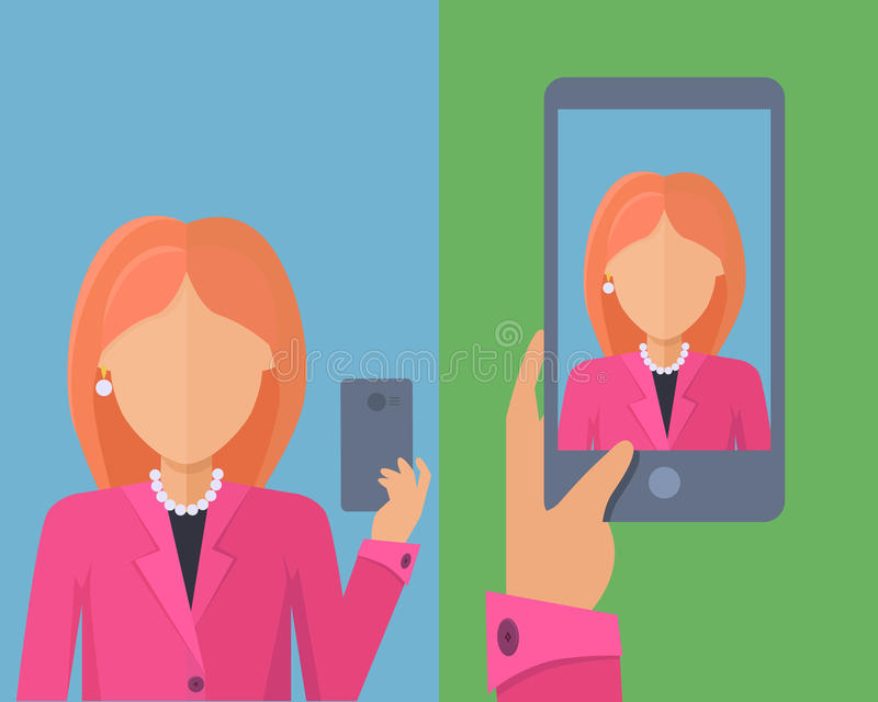 Selfy su Smartphone Giovane donna che cattura auto ritratto illustrazione di stock