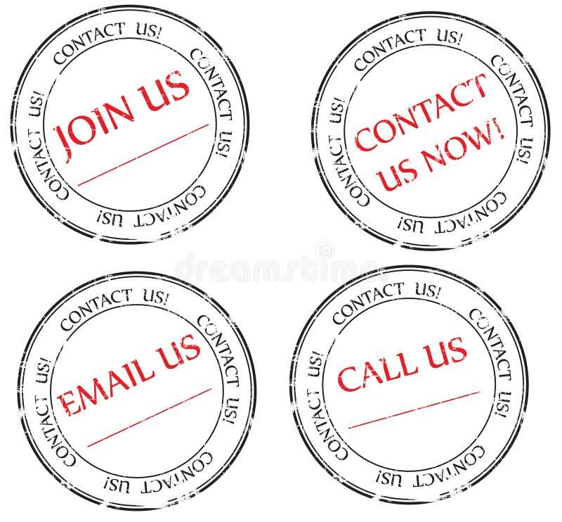 Seli metta in contatto con, inviili con la posta elettronica, uniscali messaggio sul bollo illustrazione di stock