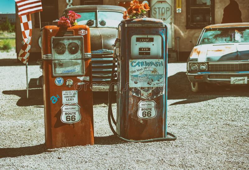 SELIGMAN, AZ - JUNE 29, 2018: Ancient gas station on historic Route 66. Old gas stations are a famous tourist attraction.  royalty free stock images