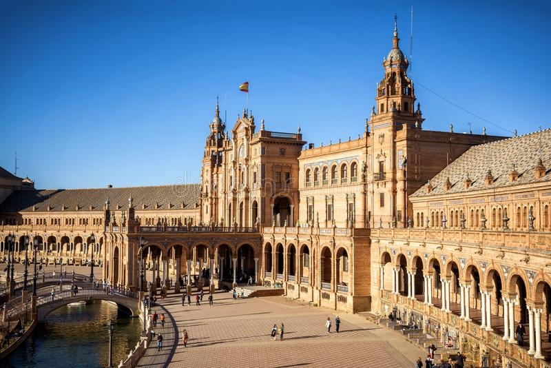 Selille Plaza de Espana Spanien fyrkant, Andalusia spain royaltyfri fotografi