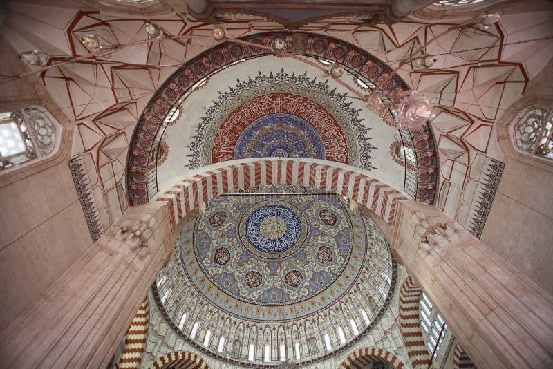 Selimiye清真寺,爱迪尔内内部  免版税库存照片