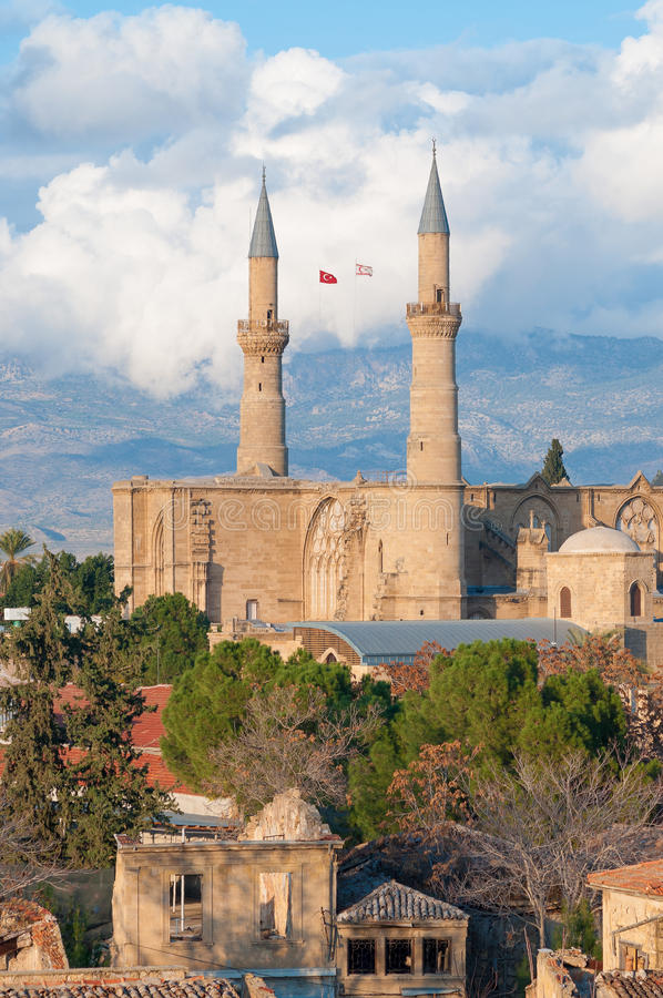 Selimiye moské (domkyrkan för St Sophia) cyprus nicosia arkivbild