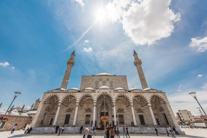 Selimiye Mosque, Konya in Turkey. Selimiye Mosque, Selim II Mosque, is a 16th-century Ottoman mosque in Konya, Turkey. View of the center city plaza during the stock images