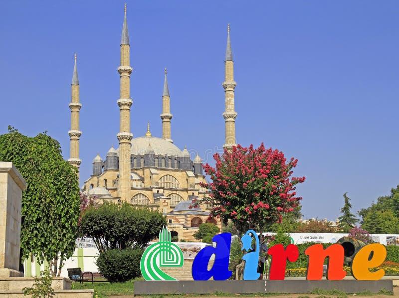 Selimiyemoskee die tussen 1569 en 1575 in Edirne, Turkije wordt gebouwd royalty-vrije stock afbeeldingen