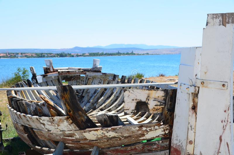 Selina, Croatia, Adriatic Sea, Wood boat royalty free stock images