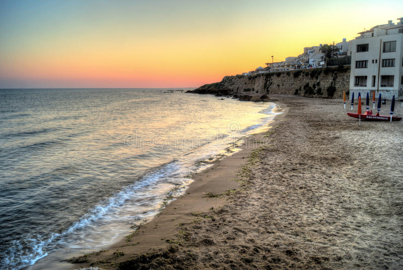 Selinunte beach at sunset in Sicily stock photos