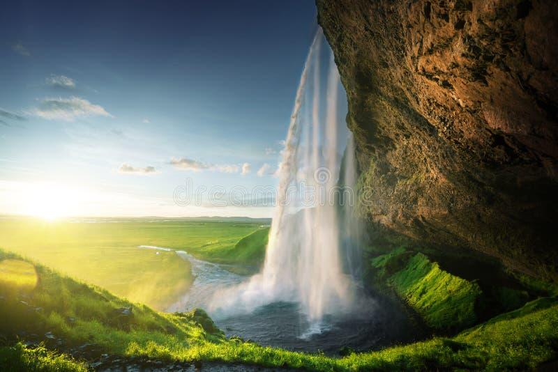 Seljalandfoss waterfall in summer time stock image