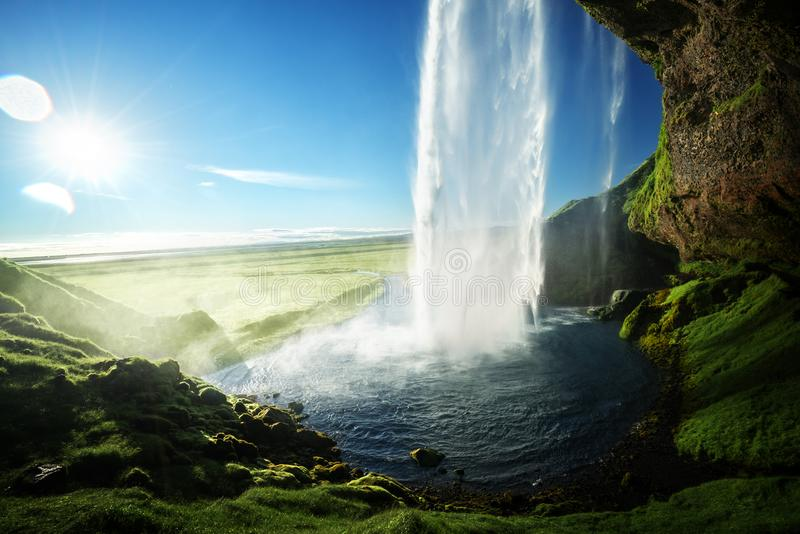 Seljalandfoss waterfall in summer time stock photography