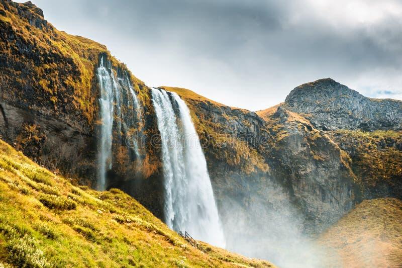 Seljalandsfoss瀑布,南冰岛 库存图片