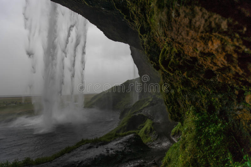 Seljalandsfoss, Één van IJsland ` s de meeste beroemde watervallen stock afbeeldingen