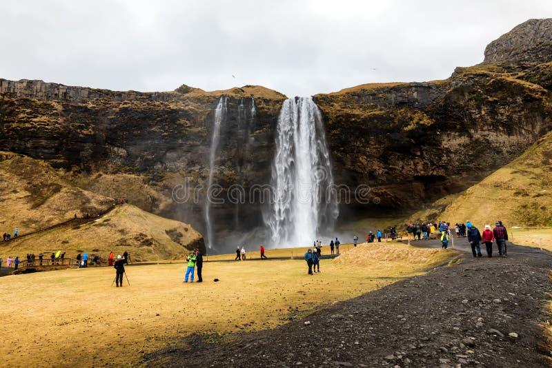 Seljalandsfoss é uma das cachoeiras as mais bonitas no CI fotos de stock royalty free