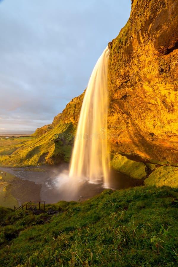 Seljalandsfoss siklawa przy zmierzchem, Iceland zdjęcia royalty free