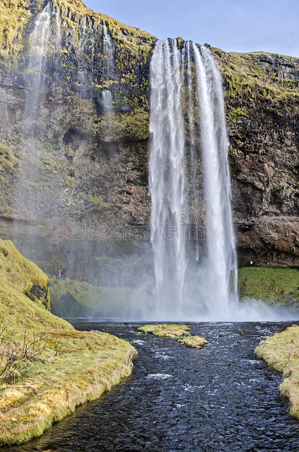 Seljalandsfoss waterfall Iceland. Seljalandsfoss waterfall in southern Iceland along scenic ring road royalty free stock photos