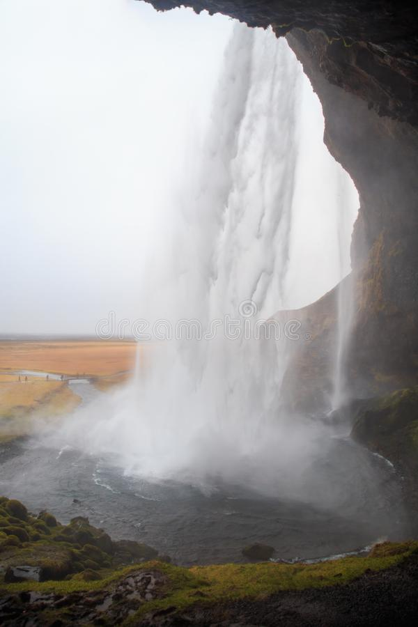 Seljalandsfoss waterfall in southern Iceland on a cloudy winter day. stock photo