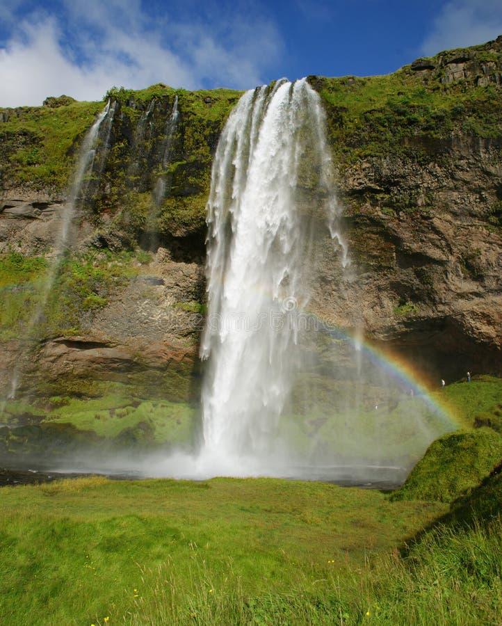 Seljalandsfosswaterval in de rivier Seljalands 60 meters 197 voet-cascade, naast route 1 in zuidelijk IJsland Het is royalty-vrije stock fotografie