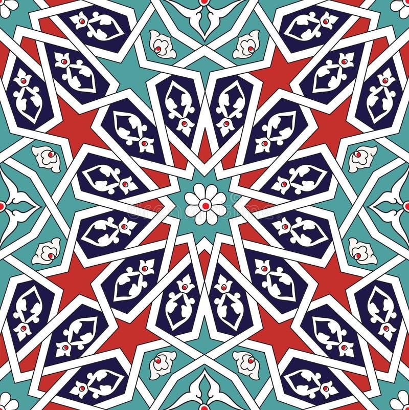 Seljuk geometrisk blom- design royaltyfri illustrationer