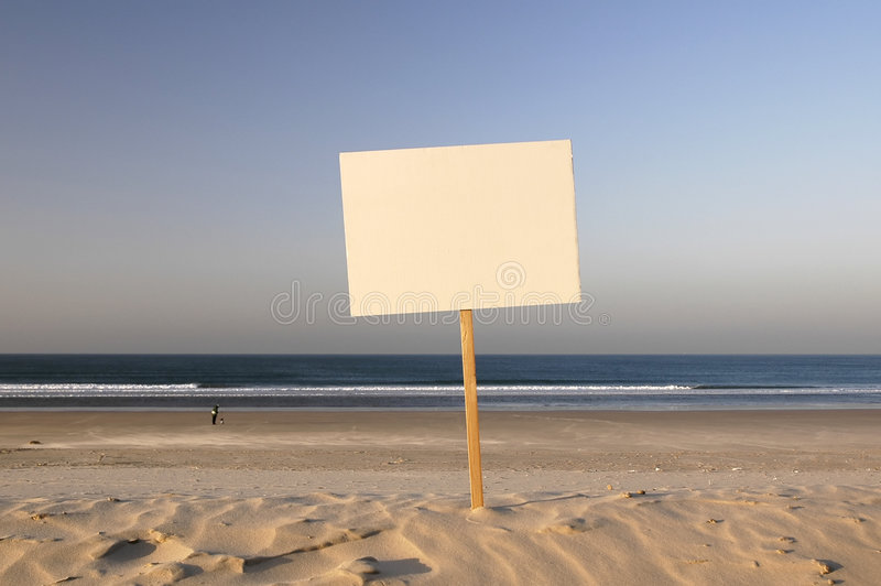 Sell beach. Beach sign ready for rent, holliday, sold, you write your text stock photo