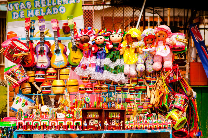 Sell of beautiful colorful mexican toys in Xohimilco, Mexico. royalty free stock photos