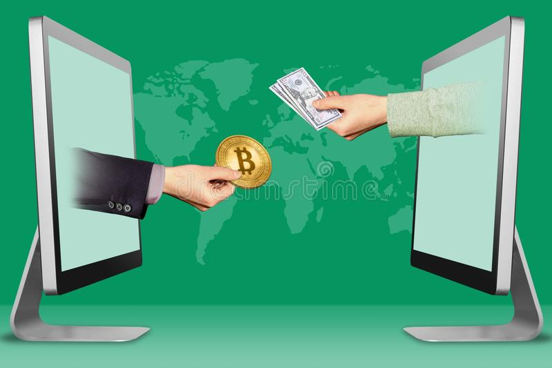 Sell bit coins concept, two hands from displays. hand with bitcoin and hand with cash money. 3d illustration vector illustration