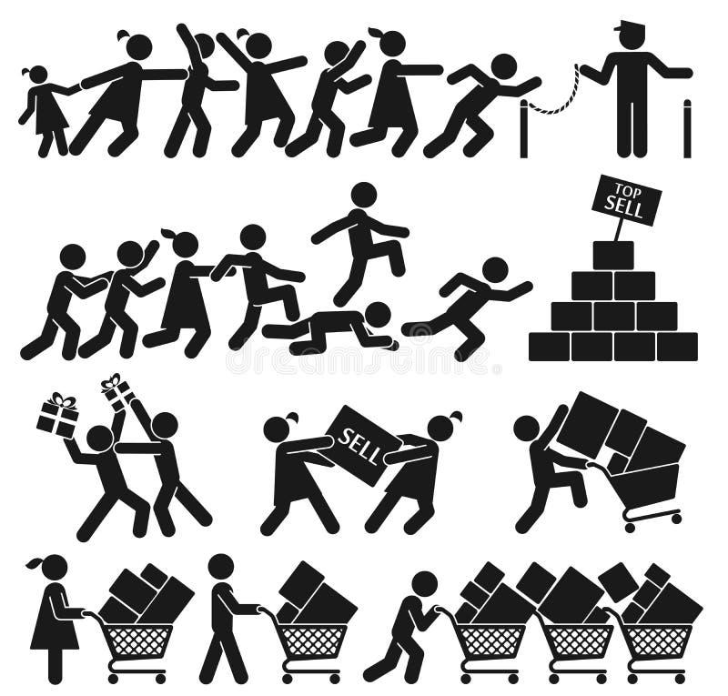 SELL ON BLACK FRIDAY. MEN AND WOMEN GO SHOPPING ON BLACK FRIDAY vector illustration