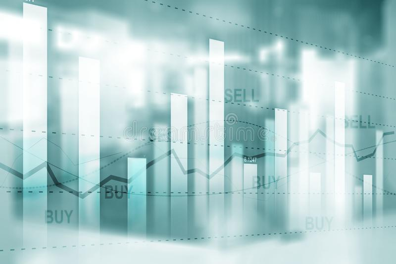 Sell and Buy. Financial stock trading graph chart diagram on blurred office background.  stock photo