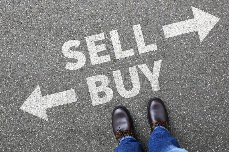 Sell buy selling buying goods trading stock exchange banking bus stock photo