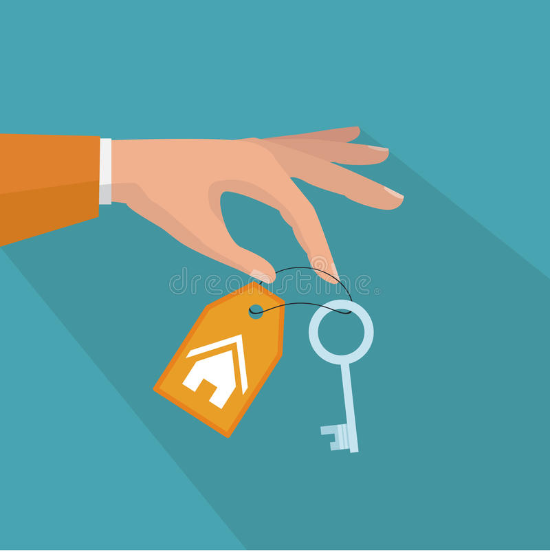 Sell house icon, successful investment concept. House handover. stock illustration