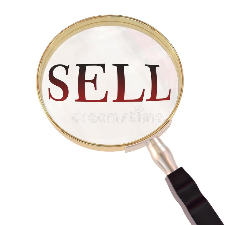 Sell magnify. By 3d rendered magnifying glass on isolated white background stock illustration