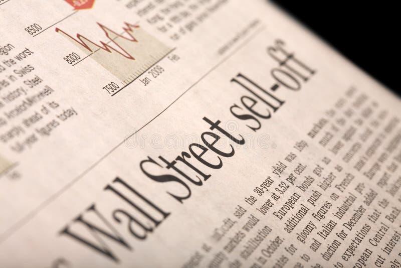 Sell-off de Wall Street foto de stock