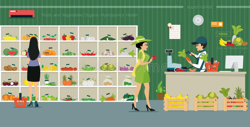 Sell organic vegetable. Credit card customers are from the counter to buy vegetables in supermarkets vector illustration
