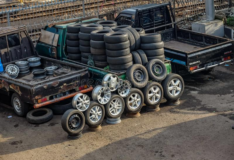 Sell tyres. Second hand tyres in street market royalty free stock images