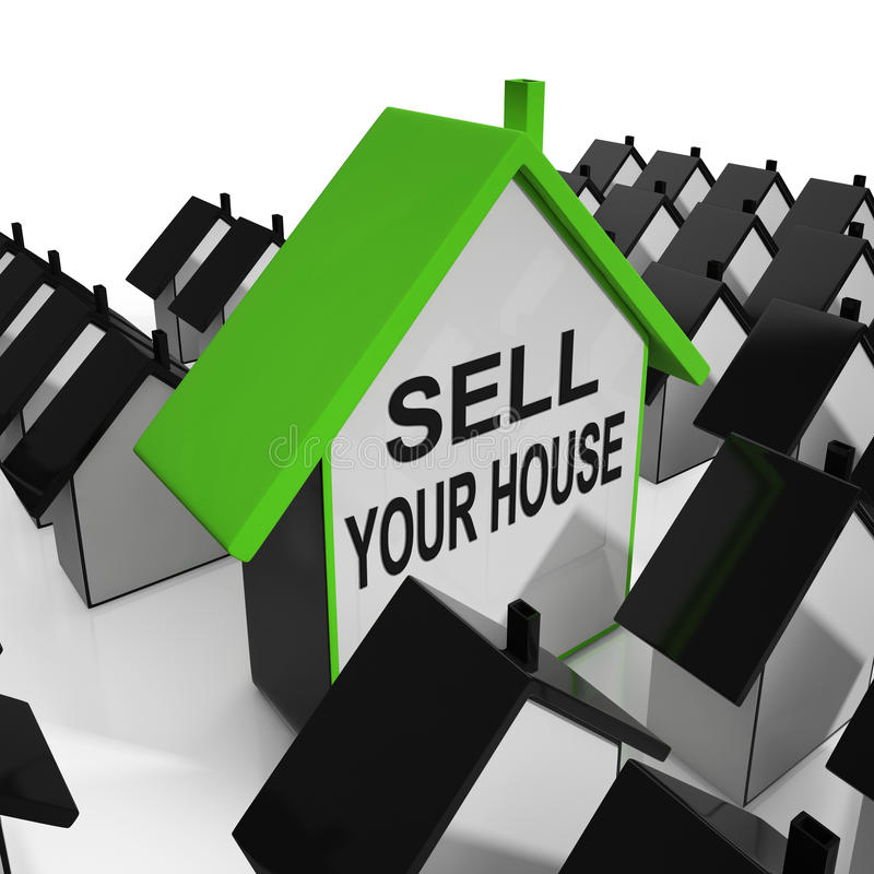 Sell Your House Home Means Marketing Property royalty free illustration