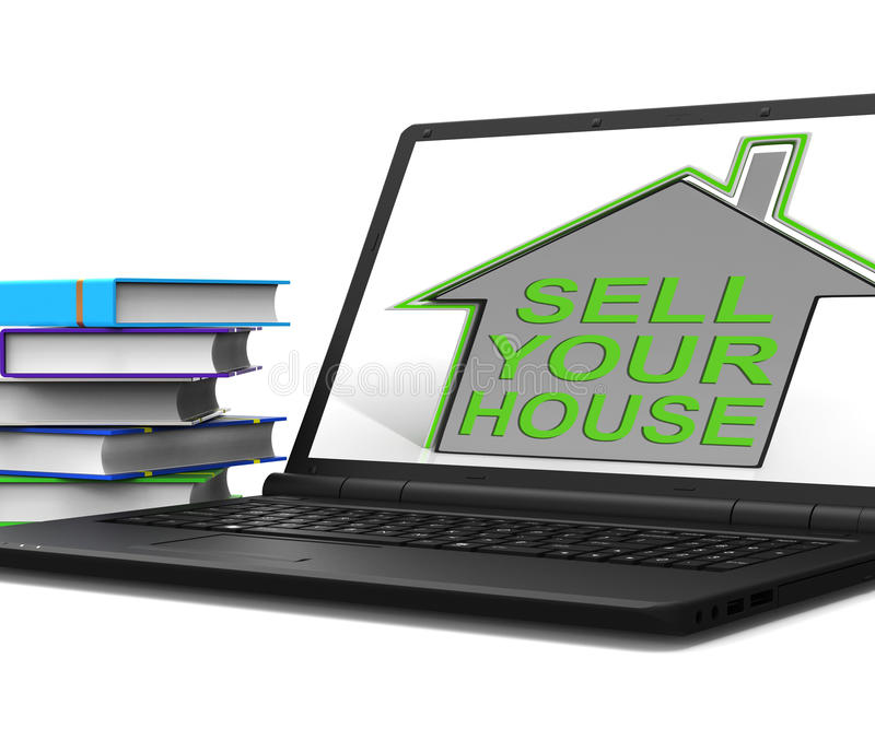 Sell Your House Home Tablet Means Find Property Buyers stock illustration