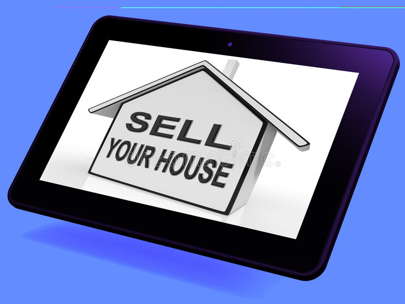 Sell Your House Home Tablet Shows Listing Real Estate royalty free illustration