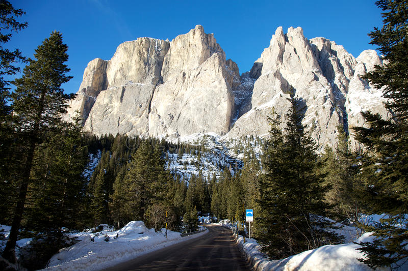 Sella group in the Dolomite mountains in winter stock photography